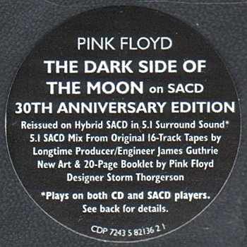 The Dark Side of the Moon CDP 7243 5 82136 2 1 Japan Sticker